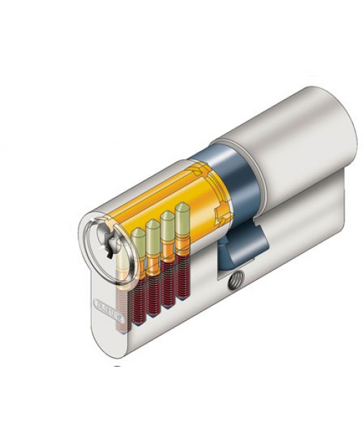 Дверной цилиндр ABUS с плоским ключом (антивыбивание) D6PS 30/35B никель