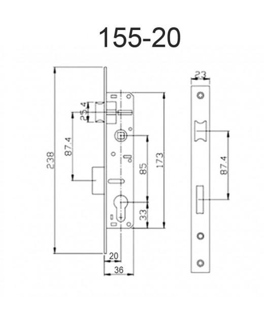 Замок дверной HISAR 155-20-CP с планкой