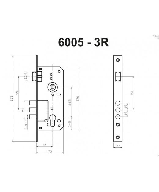 Замок дверной HISAR ET 6005R-CP с планкой