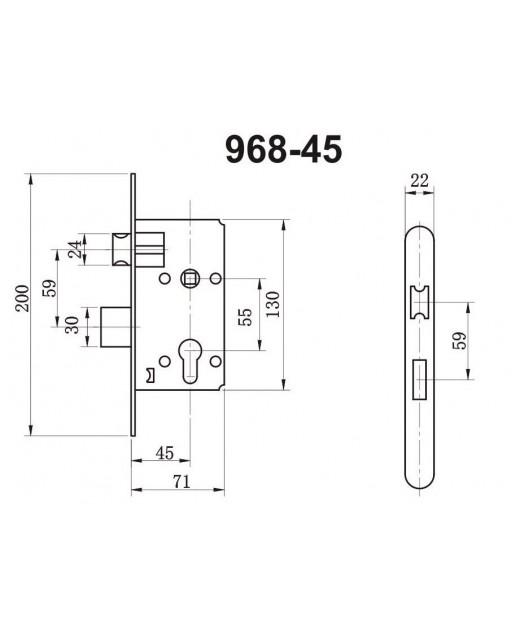 Замок дверной HISAR  ET 968-45-CP с планкой