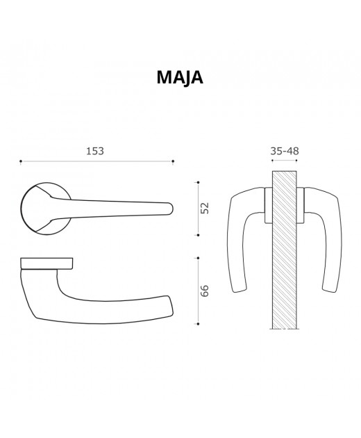 Дверные ручки System MAJA CBM Матовый Хром