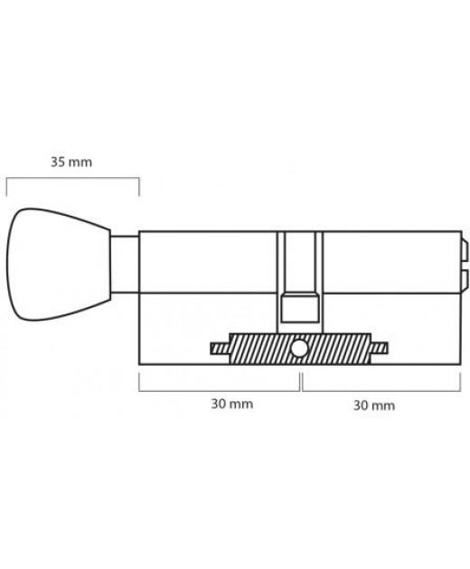 Дверной цилиндр ШерЛок HK 60 (30*30)T SN
